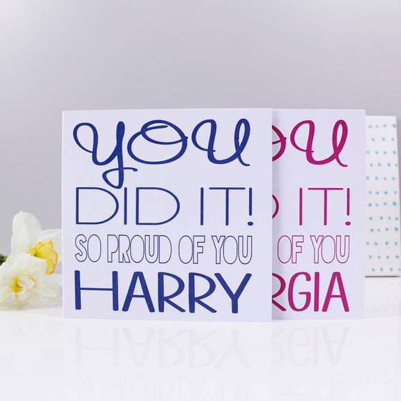 You Did It Typography Congratulations Card - Olivia Morgan Ltd