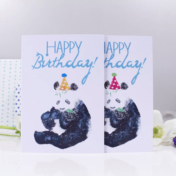 Happy Birthday Panda Party Hat Card - Olivia Morgan Ltd