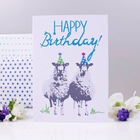 Happy Birthday Sheep Party Hat Card - Olivia Morgan Ltd