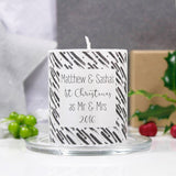 First Christmas As Mr And Mrs Personalised Metallic Candle - Olivia Morgan Ltd