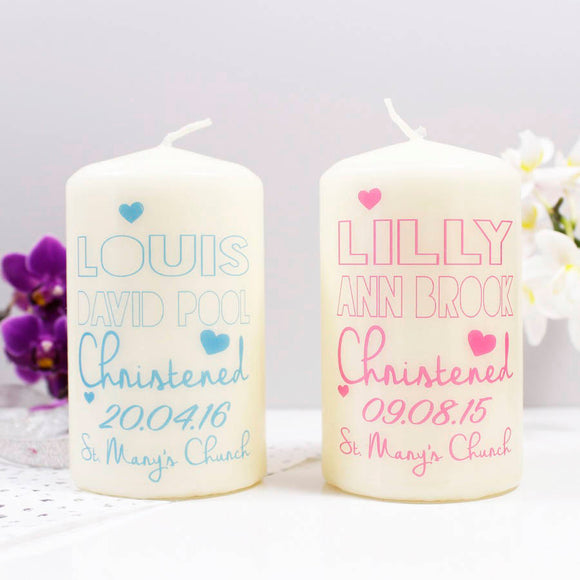 Christening Personalised Candle For Boys And Girls - Olivia Morgan Ltd
