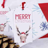 Reindeer Santa Hat Christmas Gift Tag - Olivia Morgan Ltd