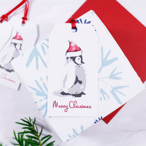 Penguin Santa Hat Christmas Gift Tag - Olivia Morgan Ltd