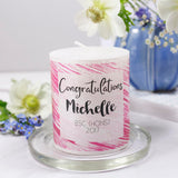 Congratulations Graduation Personalised Metallic Candle Gift - Olivia Morgan Ltd
