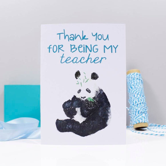Panda Thank You For Being My Teacher Card - Olivia Morgan Ltd