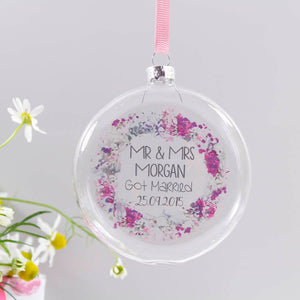 Mr And Mrs Wedding Personalised Wreath Bauble Decoration - Olivia Morgan Ltd