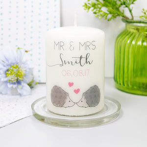 Hedgehog Personalised Wedding Anniversary Candle - Olivia Morgan Ltd