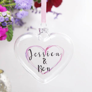 Anniversary Heart  Personalised Bauble - Olivia Morgan Ltd