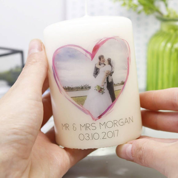 Wedding Photo Personalised Anniversary Candle - Olivia Morgan Ltd