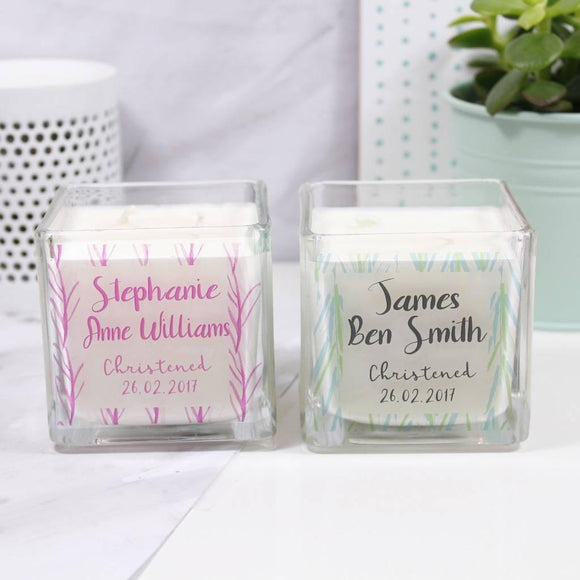 Christening Personalised Scented Square Candle - Olivia Morgan Ltd