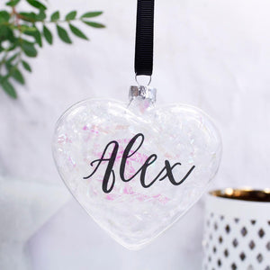 Iridescent Personalised Christmas Heart Bauble - Olivia Morgan Ltd