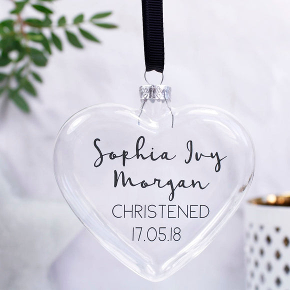 Christening Personalised Heart Bauble For Girls And Boys - Olivia Morgan Ltd