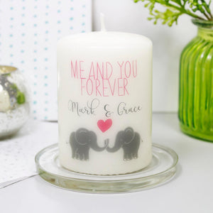Me And You Forever Personalised Elephant Anniversary Candle Gift - Olivia Morgan Ltd