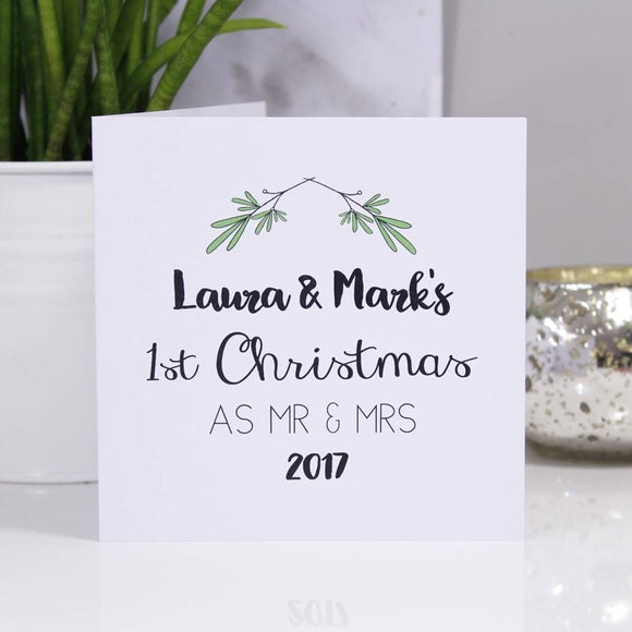 First Christmas As Mr And Mrs Personalised Mistletoe Card - Olivia Morgan Ltd