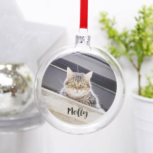Pet Photo Personalised Flat Glass Bauble - Olivia Morgan Ltd