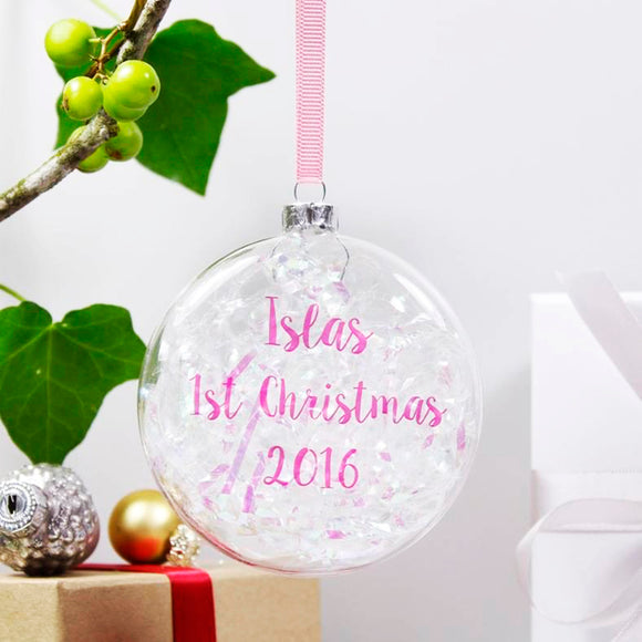 Baby's First Christmas Personalised Iridescent Bauble - Olivia Morgan Ltd