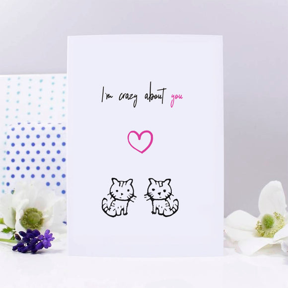 Crazy About You Cat Anniversary Card - Olivia Morgan Ltd