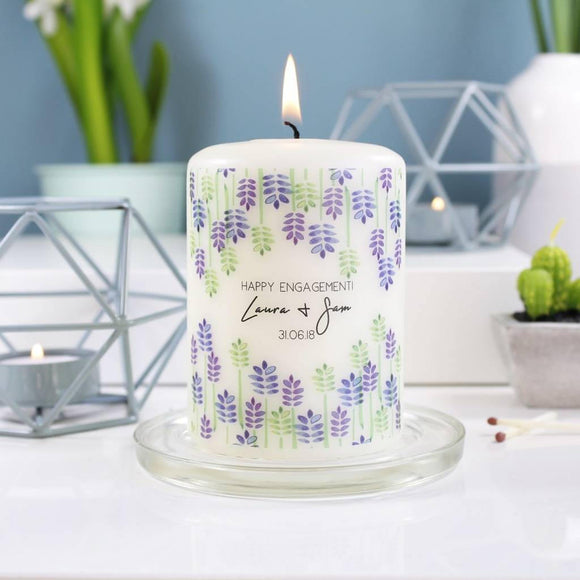 Floral Engagement Personalised Candle - Olivia Morgan Ltd