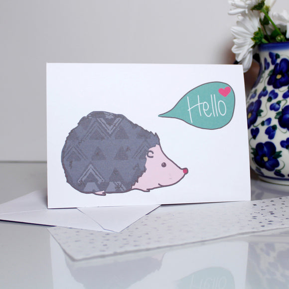 Hello Hedgehog Card - Olivia Morgan Ltd