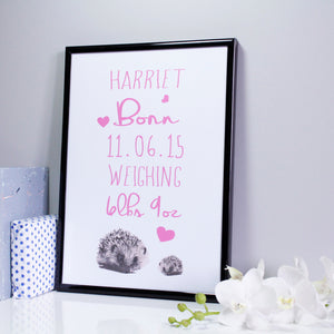 Baby Girl Personalised Hedgehog Print - Olivia Morgan Ltd