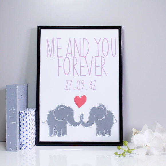 Me and You Forever Personalised Elephant Anniversary Print - Olivia Morgan Ltd