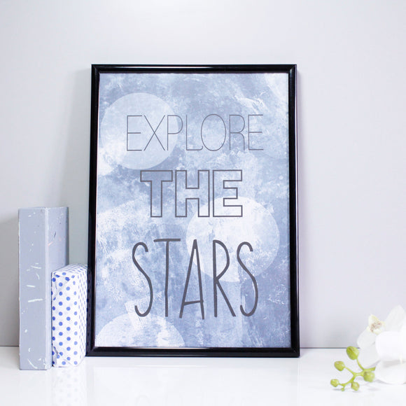 Explore The Stars Patterned Quote Print - Olivia Morgan Ltd