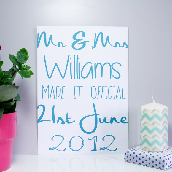 Typography Personalised Wedding Print Gift - Olivia Morgan Ltd