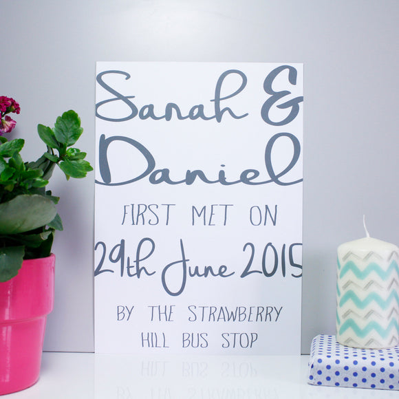 Typography First Met Personalised Anniversary Print - Olivia Morgan Ltd