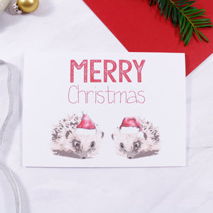 Hedgehog Santa Hat Christmas Card - Olivia Morgan Ltd