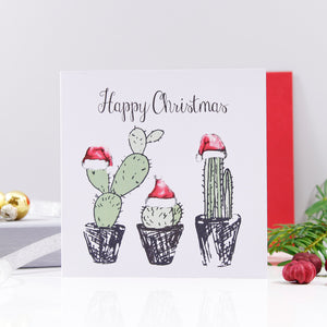 Cacti Santa Hat Christmas Card - Olivia Morgan Ltd