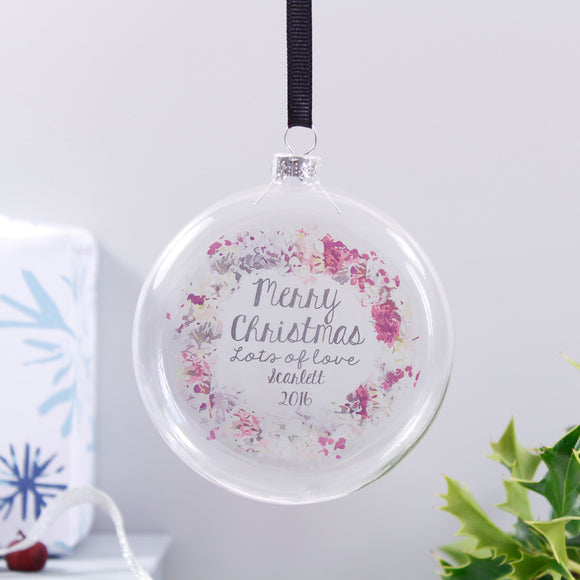 Merry Christmas Personalised Wreath Flat Bauble - Olivia Morgan Ltd