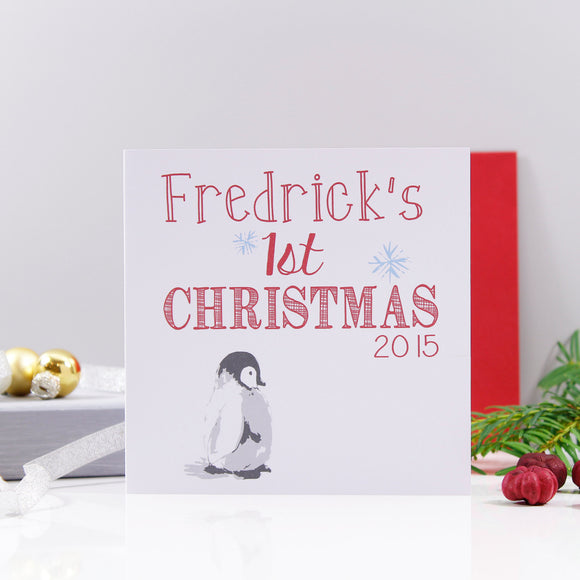 Baby Penguin First Christmas Personalised Card - Olivia Morgan Ltd