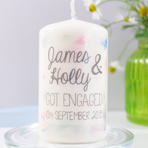 Watercolour Engagement Personalised Candle - Olivia Morgan Ltd