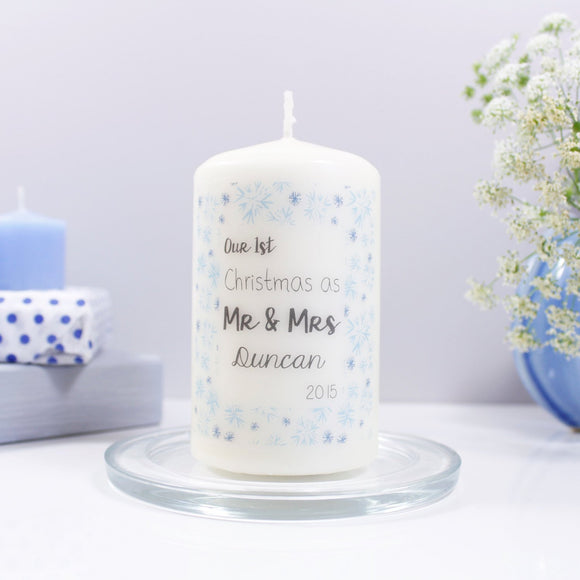 First Christmas As Mr And Mrs Personalised Candle - Olivia Morgan Ltd