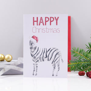 Zebra Santa Hat Christmas Card - Olivia Morgan Ltd