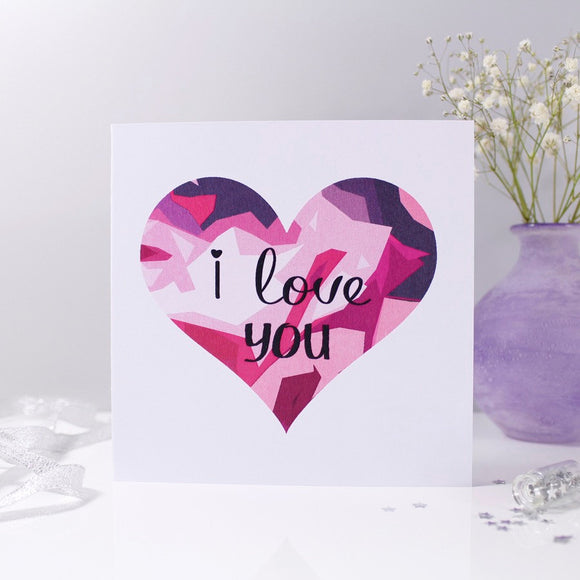 I Love You Geometric Heart Anniversary Card - Olivia Morgan Ltd