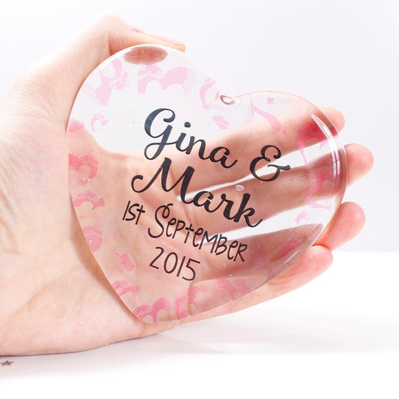 Anniversary Personalised Glass Heart - Olivia Morgan Ltd