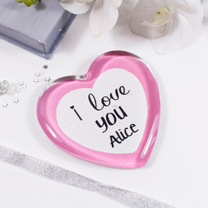 I Love You Personalised Anniversary Glass Heart - Olivia Morgan Ltd