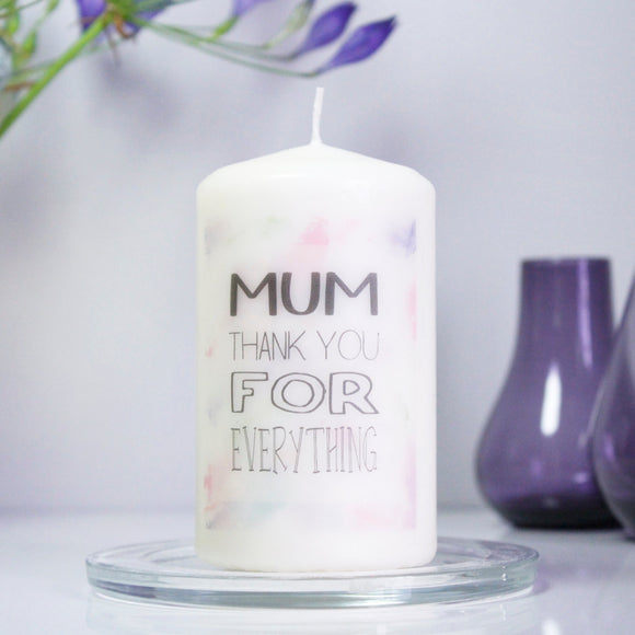 Thank You Mum Personalised Candle For Mum - Olivia Morgan Ltd