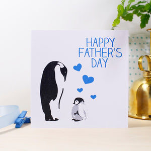 Happy Father's Day Penguin Card - Olivia Morgan Ltd