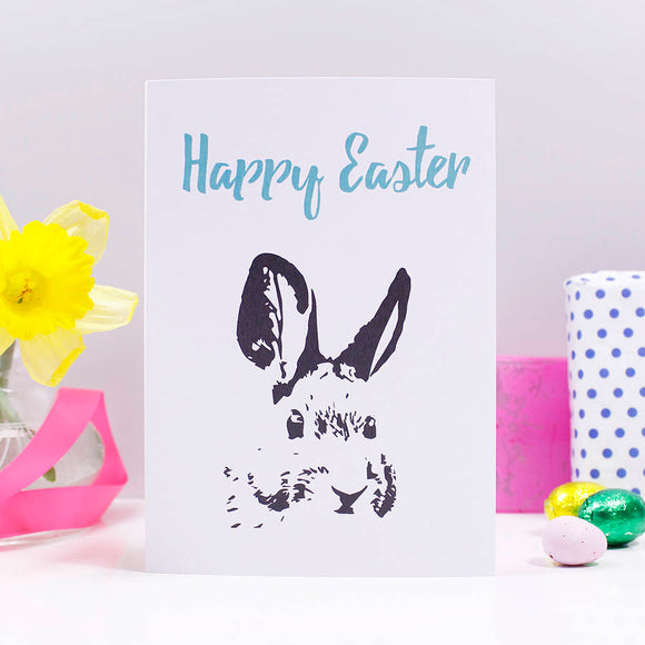 Happy Easter Illustration Rabbit Card - Olivia Morgan Ltd