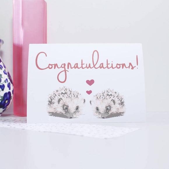 Congratulations Wedding Hedgehog Card - Olivia Morgan Ltd
