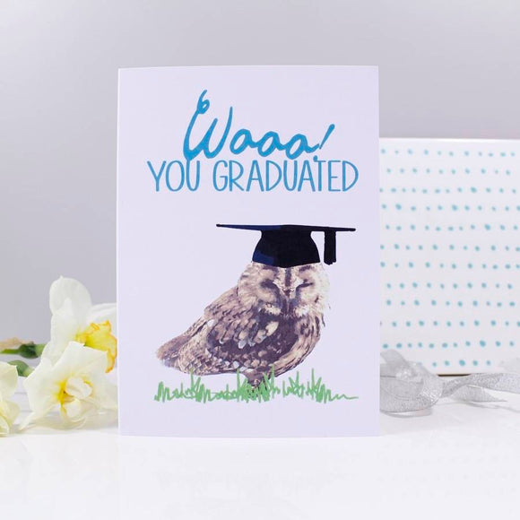 Wooo You Graduated Owl Graduation Card - Olivia Morgan Ltd