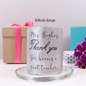 Thank You Personalised Metallic Candle For Teachers - Olivia Morgan Ltd