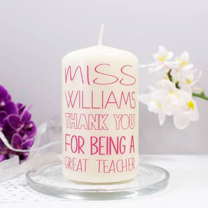 Thank You Personalised Candle For Teachers - Olivia Morgan Ltd