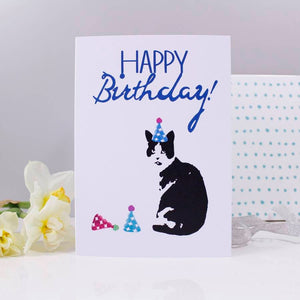 Happy Birthday Cat Party Hat Card - Olivia Morgan Ltd