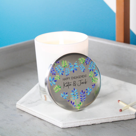 Happy Engagement Scented Candle With Floral Lid - Olivia Morgan Ltd