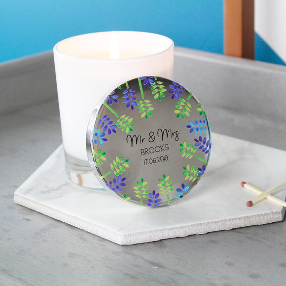 Wedding Anniversary Scented Candle With Floral Lid - Olivia Morgan Ltd