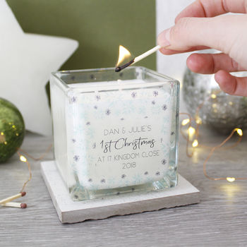 New Home Christmas Snowflake Scented Square Candle - Olivia Morgan Ltd