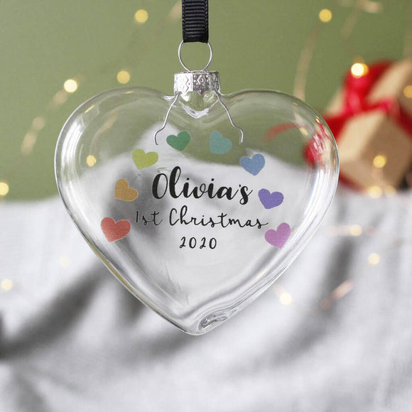 Baby's First Christmas 2020 Rainbow Bauble Decoration